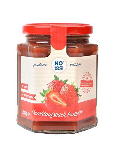NO SUGAR SUGAR Fruchtaufstrich Erdbeere ohne Zuckerzusatz mindestens 80% Fruchtanteil mit Erythrit und Stevia | Brotaufstrich Hergestellt in der EU (260g)