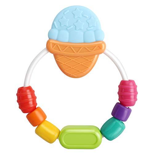 Zooawa Massaggia Gengive per Neonati, Morbido Giocattolo da Dentizione per Alleviare il Dolore, Portaciuccio Girevole senza BPA per Bambini, Massaggiagengive Gioco a Forma di Gelato - Multicolore