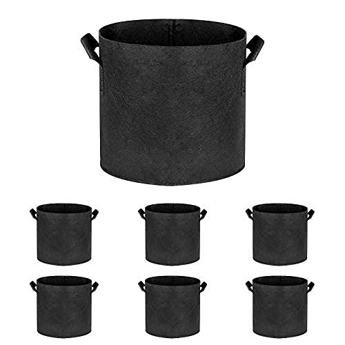 SOUNDFAIR 5 Gallon Fabric Pot Container with Reinforced Handles for Indoor Outdoor Plants Quality Non-Woven Material Scientific Design Reusable 6 Pack