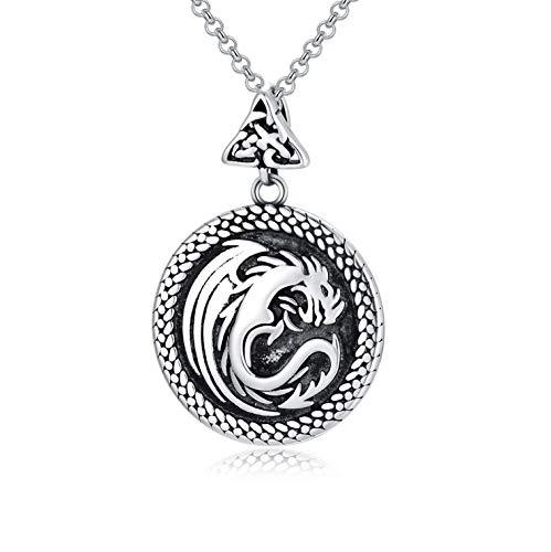 RMREWY Celtic Knot Dragon Necklace Wing Dragon Men Pendant 925 Sterling Silver Vintage Oxidation Eternity Necklace Punk Animal Pendant Necklace for Women Men