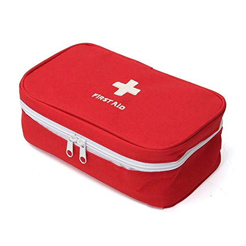 Lecez Kit de Primeros Auxilios de Nylon al Aire Libre, Kit médico portátil en casa Oficina médica Emergencia Caja médica Resistente al Desgaste y Impermeable, Gris, Rojo, 23x13x7.5cm (Color : Rojo)