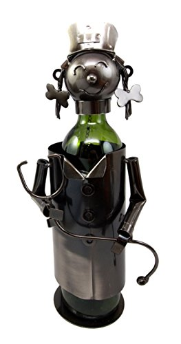 Atlantic Collectibles Registered Nurse On Duty Hospital Clinic Hand Made Metal Wine Bottle Holder Caddy Great Gift For Nurses