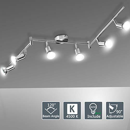 Bojim Deckenstrahler 6 flammig Neutralweiß Inkl. 6x 6W GU10 Leuchtmittel je 600LM 4500K 82Ra IP20 silber Deckenlampe LED einstellbar Spotbalken Wohnzimmer Matt Nickel modern Deckenleuchte Metall