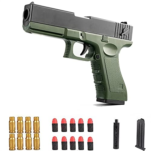 LLZZ Colt 1911 Shell Ejection Soft Bullet Toy Gun,Cool Toys 1911 Toy Gun Soft Ejecting Magazine,Toy Pistol,Toy Gun with Magazine Ejection,1911 Toy Gun 1:1Size with Silencer (Green)