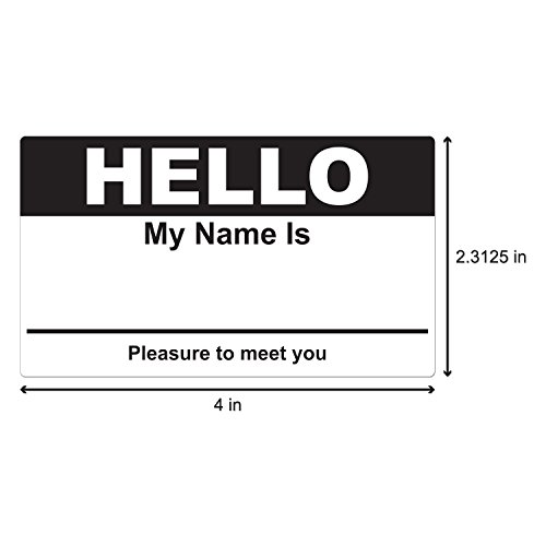 Black Hello My Name is Name Badge Tag Labels Stickers - 1 Roll Photo #2