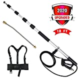 JOYJOB Telescopic Spray Wand for Pressure Washer Extension Lance Wand 18ft with Belt, 15 Degrees Sprayer Lance...