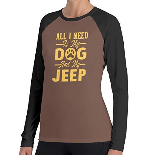 Alles wat ik nodig heb is mijn hond Jeep vrouwen Raglan zachte kleur blok Baseball lange mouwen Pullover Tuniek Top T-Shirts klassieke blouses Top Tee