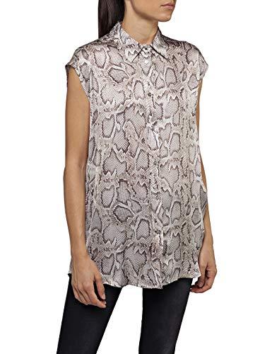 REPLAY W2316 .000.72016 Blusa, Multicolor (Natural/Brown 10), Medium para Mujer