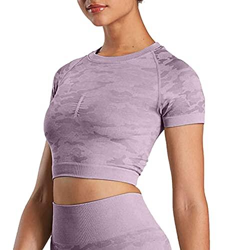 Aoxjox Women's Workout Short Sleeve Seamless Camo Crop Top Gym Sport Shirts (Camo/Lavender Grey, Medium)