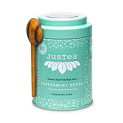 JusTea PEPPERMINT DETOX | Loose Leaf Herbal Tea with Hand Carved Tea Spoon | 40+ Cups (1.6oz) | Caffeine Free | Award-Winning | Fair Trade | Non-GMO by Justea