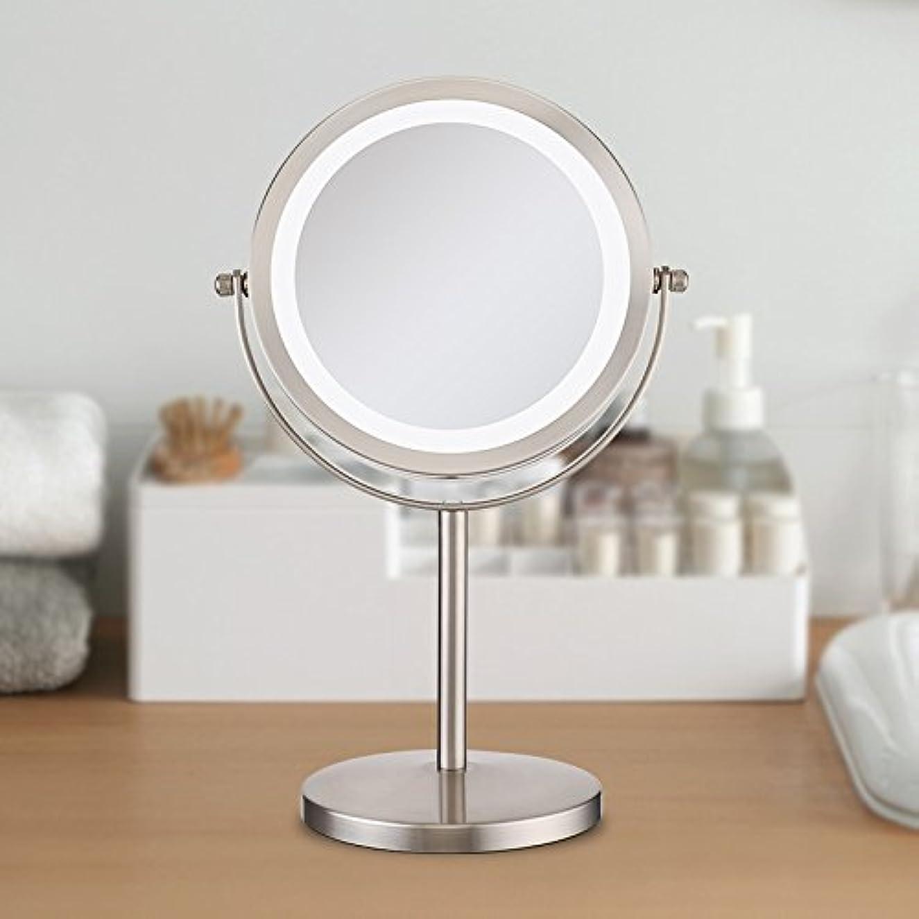 モルヒネ高層ビル掻く(セーディコ)Cerdeco 真実の北欧風卓上鏡DX LEDライト付き 10倍拡大率 両面化粧鏡 真実の鏡DX スタンドミラー 鏡面φ178mm (10倍拡大+等倍?両面) D710N
