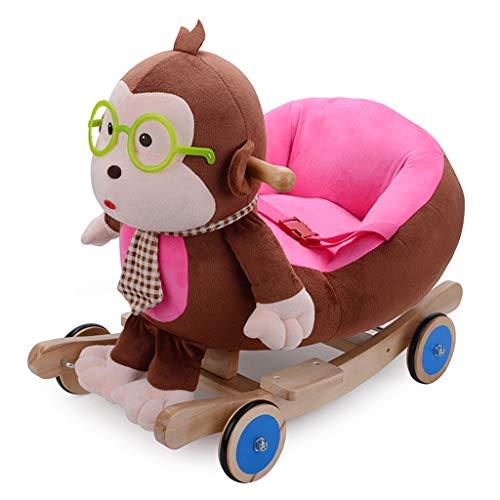 Schommelpaard QIQIDEDIAN Children's Trojan Paard Massief hout basis schommelstoel Dr. Monkey Years oud cadeau