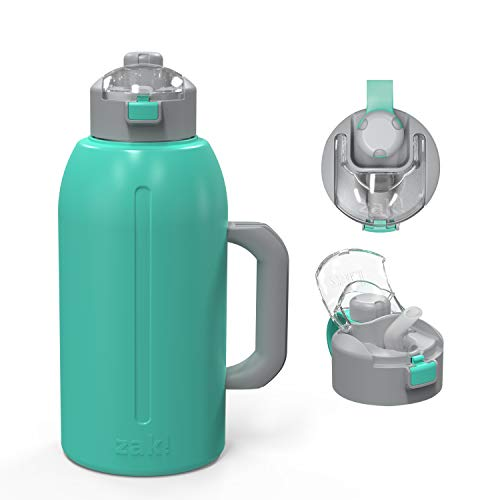 Zak Designs Genesis with 2-In-1 Lid and Leak-Proof Design Double-Wall Vacuum-Insulated Stainless Steel Water Bottle, Includes Handle and Portable Carry Strap (64oz, Tropic, 18/8 SS, BPA-Free)