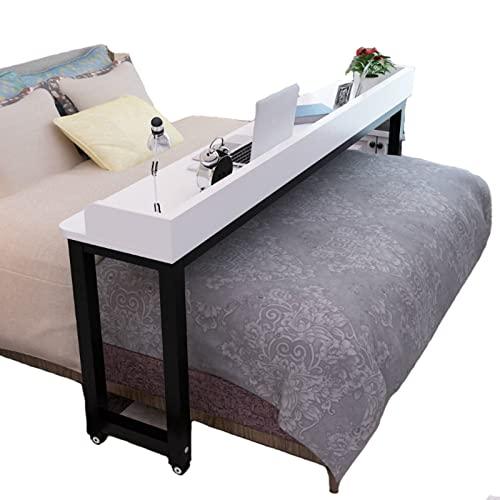 KLMN Mesa de Cama con Ruedas, con Estantes Oficina en Casa Escritorio Estrecho Móvil Consola Móvil Mesa Auxiliar para Cama,A-200 * 40 * 80cm