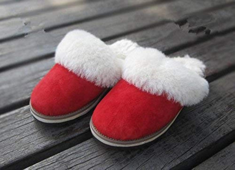 Gouuuuoy kvinnor Slippers Ladies Casual Cotton Slippers röd röd röd Inn to Keep Warm in Autumn and Winter Sheepsky Slippers Marked Färg 37 för kvinnor  het försäljning