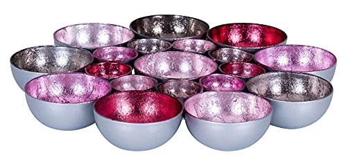 levandeo Teelichtschale 20x20cm Metall Pastell Pink Rosa Schale Teelichthalter Windlicht Kerzenhalter