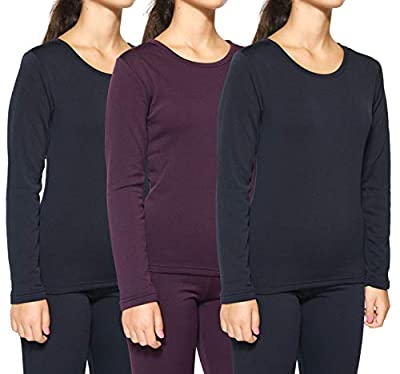 3-Pack: Women's Thermal Fleece Lined Long Sleeve Undershirts Pack Cute Compression Tops Essential Winter Clothing - Set 3, Large