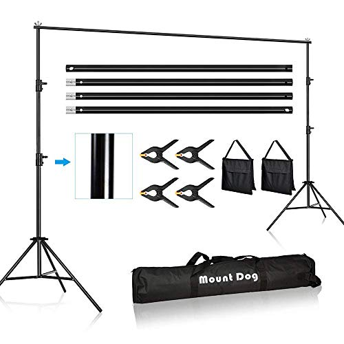 MOUNTDOG 9.2 x 10ft Photo Video Studio Backdrop Background Support Stand, Adjustable Heavy Duty Photography Background Support System Kit with Carrying Bag