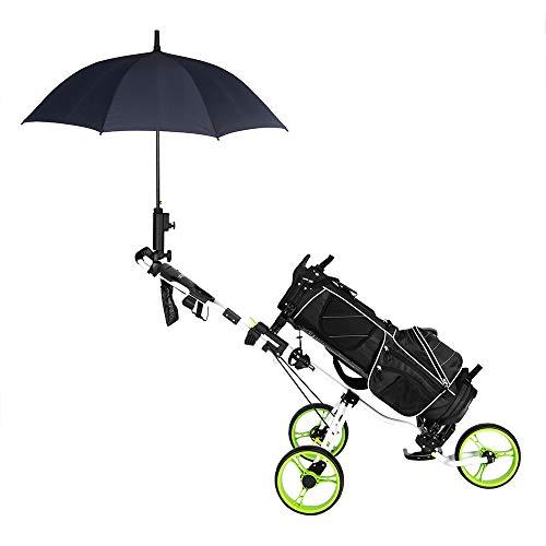 Bonnlo Golf Push Pull Cart, Collapsible 3 Wheels Golf Trolley with PU Seat, Foot Brake, Umbrella Holder, Scoreboard Bag & More (Green)