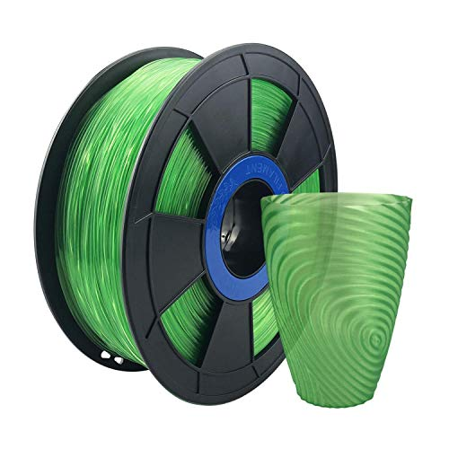 ZIRO 3D Printer Filament PLA PRO Translucent Series 1.75 1KG(2.2lbs), Dimensional Accuracy +/- 0.03mm,Translucent Green