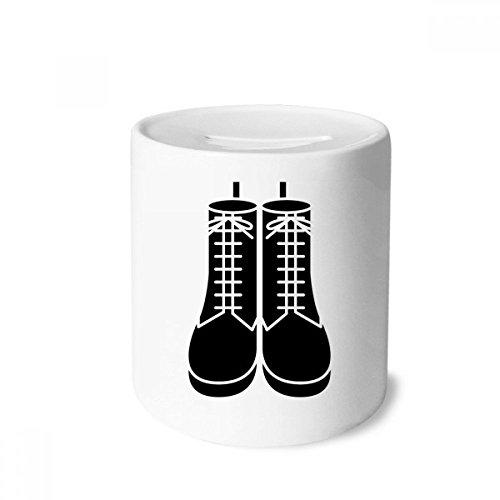 DIYthinker Caixa de moedas masculina preta com desenho de botas altas e caixa de cerâmica para presente de cofrinho