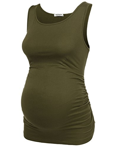 HOTOUCH Women Super Soft stretch jersey Maternity Tank Top OLIVE GREEN XL