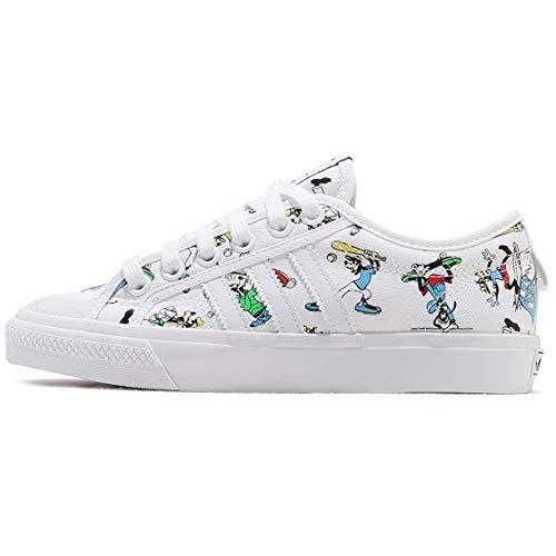 adidas Originals Men's Nizza X Disney Sport Goofy Sneaker, White/Scarlet/Black, 7.5