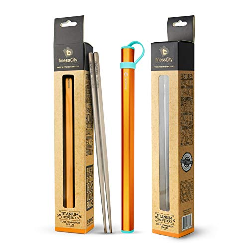 finessCity Titanium Chopsticks Extra Strong Ultra Lightweight Professional (Ti), Chopsticks Comes Free Aluminium Case (Orange)