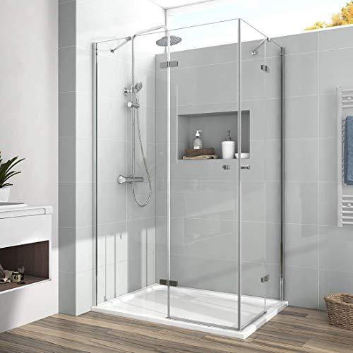 Duschkabine 120x90cm Eckeinstieg Duschabtrennung Dusche 6mm ESG Glas Doppel Scharniertür Duschtür Komplett duschkabine mit Beidseitiger Nano Beschichtung Höhe 185cm