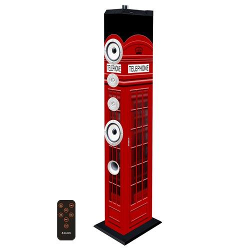 Majestic TS 85 BT USB SD AX - Altoparlanti a torre e subwoofer con Bluetooth, Ingressi USB/SD/AUX-IN, radio FM, telecomando, Cabina telefonica di Londra