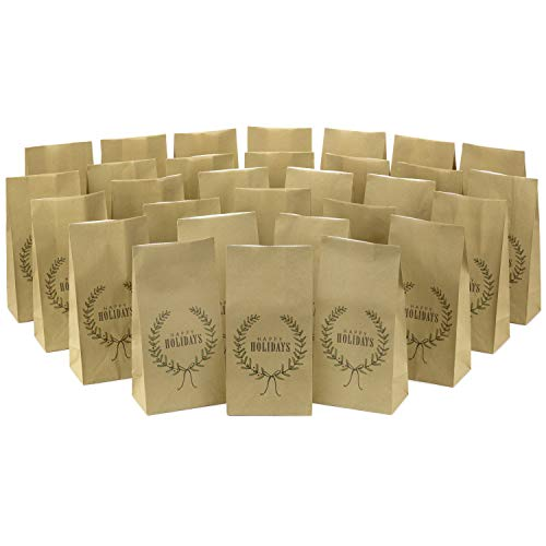 Hallmark Happy Holidays Party Favor and Wrapped Treat Bags (30 Count) for Christmas, Hanukkah, Classroom Parties, Teacher Gifts, Luminaries, Sack Lunches