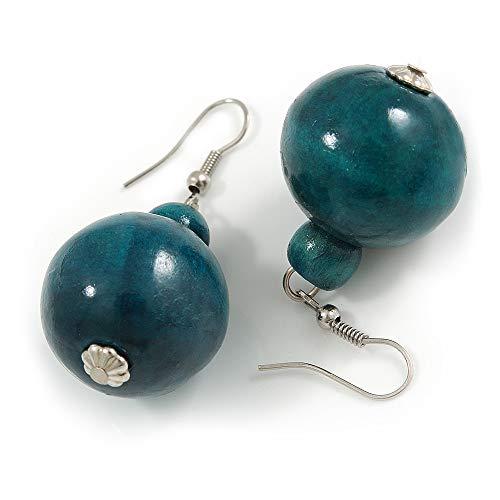 Teal Wood Bead Drop Earrings - 50mm Long