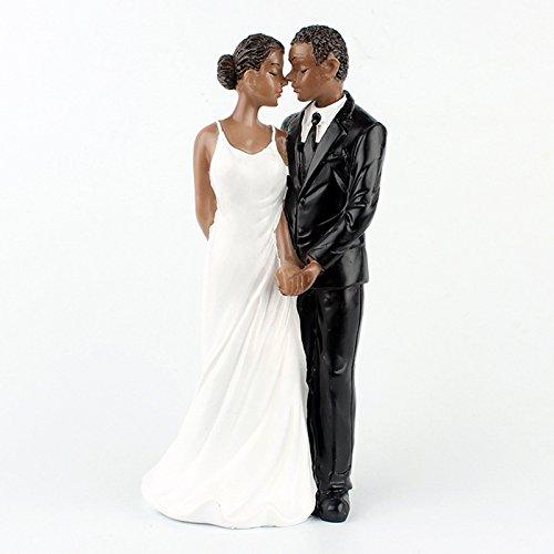 Zehui Resin African American Wedding Figurine Decoration 6.30 inch Wedding Cake Toppers