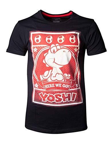Super Mario Herren T-Shirt Yoshi Poster Nintendo Baumwolle schwarz - L