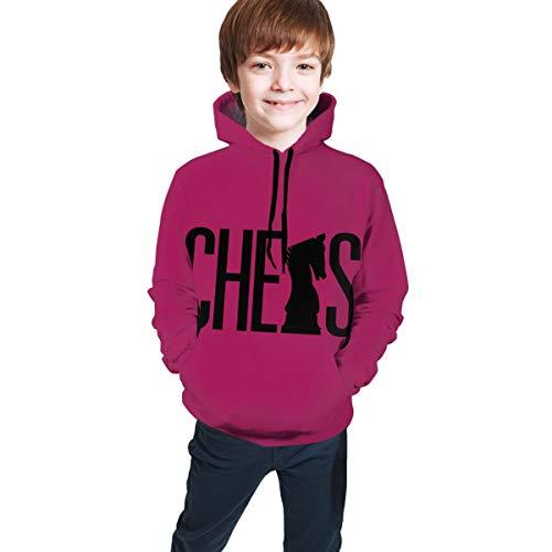 Not Applicable Sudadera de manga larga con capucha y silueta de ajedrez para niños y niñas