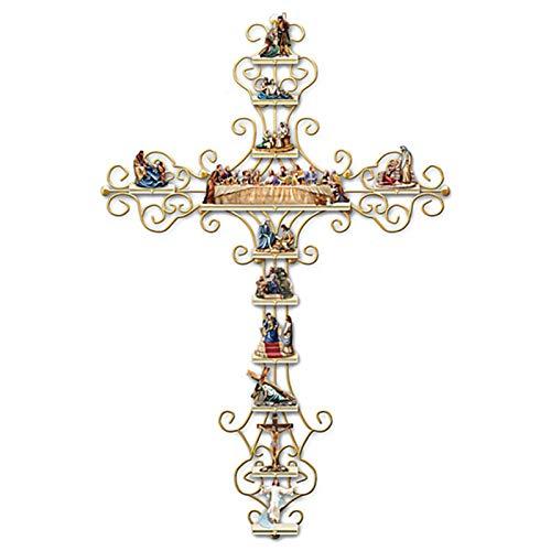 Xuecai Adesivo de parede de cruz A Vida de Cristo, coleção personalizada mural, decalque de parede de PVC para igreja, casa, sala de estar, quarto
