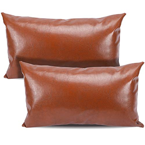 CDWERD Leather Lumbar Pillow Covers 12x20 inches Set of 2, Faux Leather Brown Modern Farmhouse Rectangle Oblong Cushion Case for Couch Bed Sofa Decor