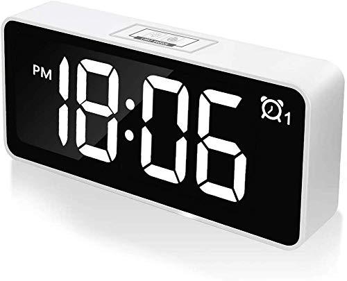 Shang Lambony Digitale wekker met temperatuurweergave, led-display, dimbaar, werkt op USB en batterijen, voor slaapkamer, kantoor, zwart