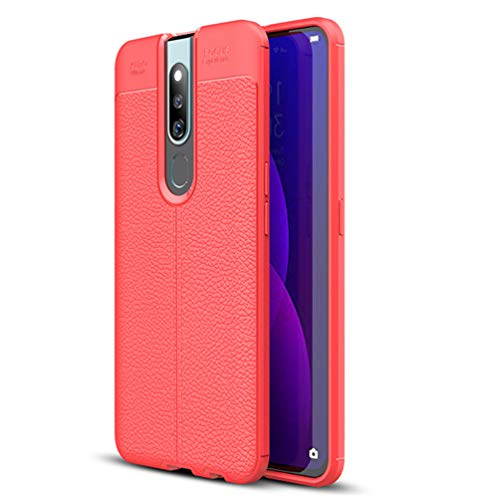 Oppo F11 Pro Case, Silicone Leather[Slim Thin] Flexible TPU Protective Case Shock Absorption Carbon Fiber Cover for Oppo F11 Pro Case (Red)