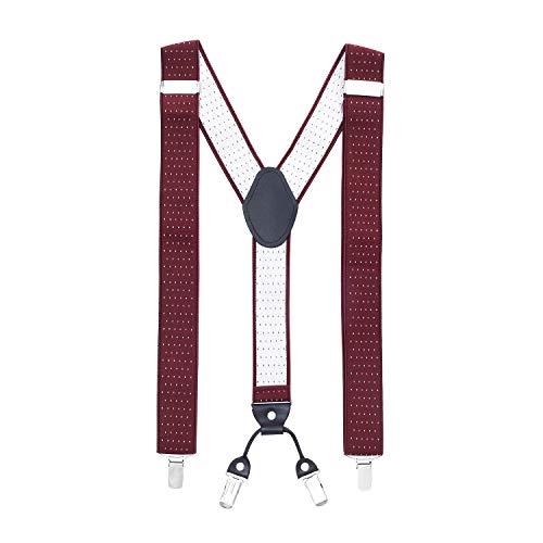 MASADA tirantes calidad fabricados a mano, con cierres resistentes y ajustes continuos con anchura de 3,5 cm para tallas de hasta 195 cm Burdeos punteado