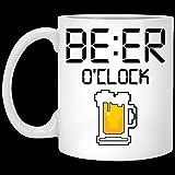 N\A Regalo para Halloween - Taza de café de cerámica con Reloj de Cerveza de Navidad