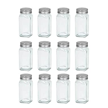12 empty french square glass spice jars, with shaker top and lid, clear