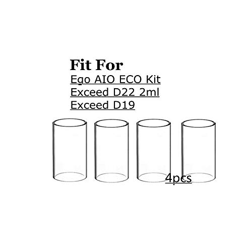 Denghui-ec 4pcs Ersatz Pyrex Glasrohr for Joyetech EGo AIO ECO Kit/Exceed D19 / D22 2 ml Atomizer (Farbe : for Exceed D19)