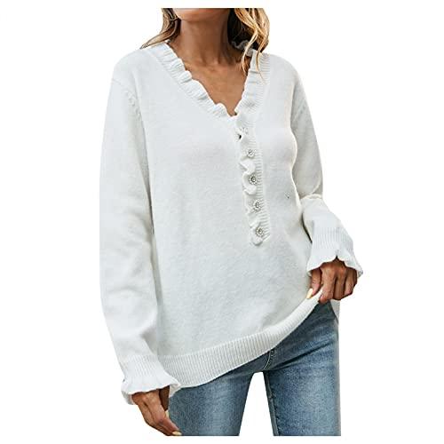 GFGHH SHIZUANYUE - Camisa de manga larga para mujer, monocolor, para el tiempo libre, cuello en V y botones de madera, suéter de punto con botón, informal, suelto, otoño, invierno, Blanco, S