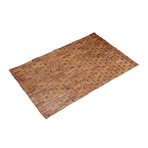 Relaxdays, Marron Tapis en Bambou Enroulable Anti-glisse Hygiénique Résistant Humidité Sortie de Bain, 50x80cm, 50 x 80 cm