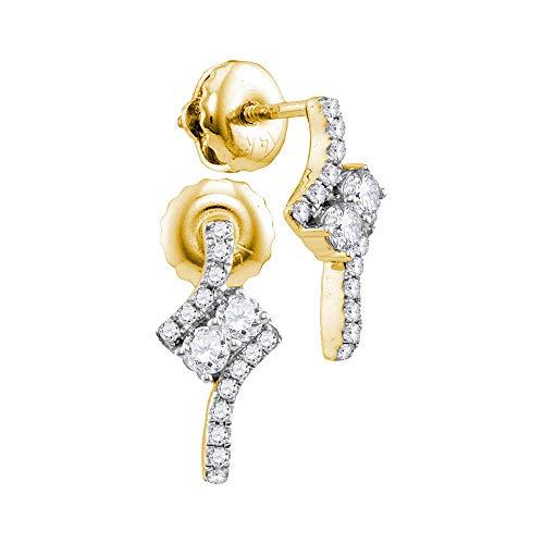 Pendientes de oro amarillo de 14 quilates con diamante redondo y 2 piedras de 1/4 de mariposa