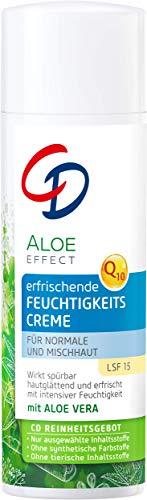 CD Aloe Effect erfrischende Feuchtigkeitscreme, pflegende Anti-Aging-Creme, mit Aloe vera & Q10, LSF 15, Tagespflege für normale & Mischhaut, vegan, 50 ml