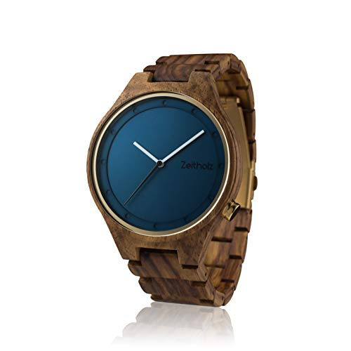 ZEITHOLZ - Herrenuhr aus Holz, Modell Stolpen - Gehäuse und Armband aus natürlichem Palisanderholz - Braun und Benzinblau - Leichte, robuste und elegante Uhr - Verstellbares Armband