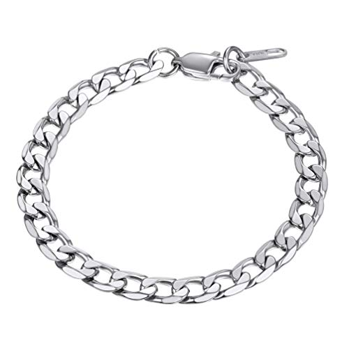PROSTEEL Biker 316L Stainless Steel Curb Chain Bracelet Mens Boys Hand Chain