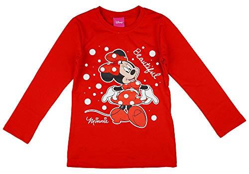 Minnie Mouse Disney Mädchen Pulli Langarmshirt in Größe 80 86 92 98 104 110 116 122 Baumwolle Longsleeve Weiß Rosa Gemustert Farbe Modell 7, Größe 104